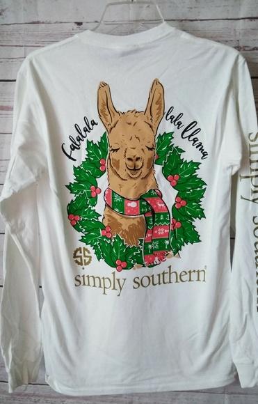 Llama Christmas Shirt.Nwt Simply Southern Small Christmas Llama Nwt